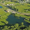 Aerial view of the clubhouse at Logan River Golf Course