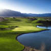 A view of the 18th green with water coming into play at Sandia Golf Club