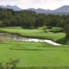A view over the water of green #7 at Course 2 from Paa-Ko Ridge Golf Club