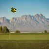 A view of a hole with mountains in background at Picacho Hills Country Club