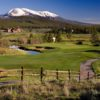 A view of a hole with bunkers and water coming into play at Breckenridge Golf Club