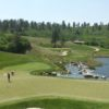 A view of a green with water coming into play at Sanctuary